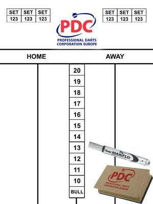 PDC whiteboard scorebord met accessoires
