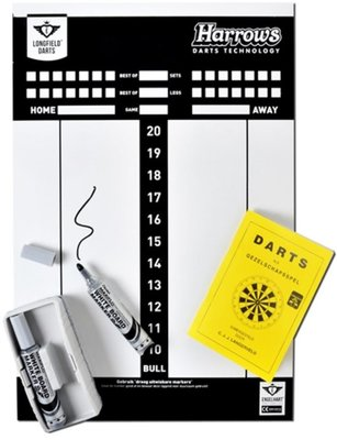 Harrows whiteboard scorebord met spelregelboekje, stift en wisser