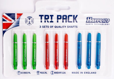 Harrows Tri Pack Supergrip medium colour shafts