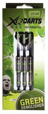 XQ-Max Michael van Gerwen Green Demolisher tungsten steeltip dartpijlen