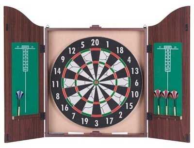 Kings Head flocked dartset met kabinet